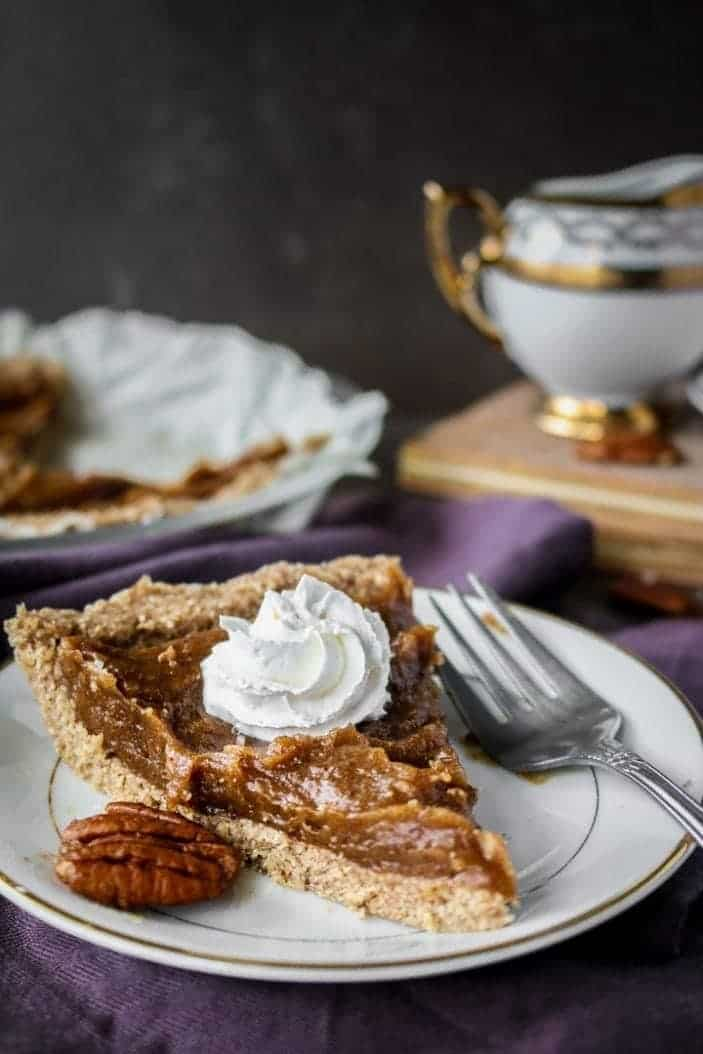 Easy Date Caramel Pecan Pie slices seen as great holiday desserts