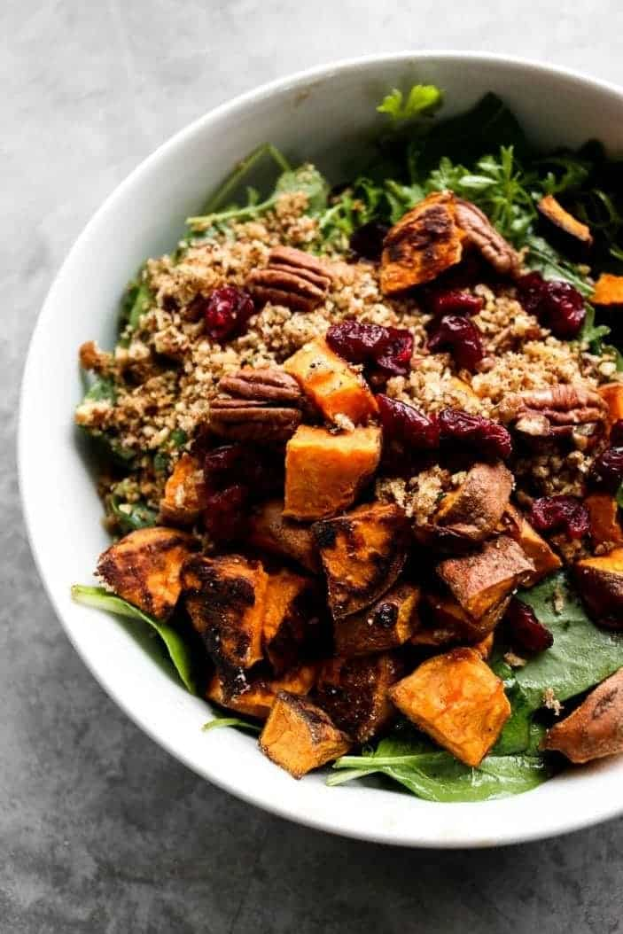 Sweet Potato & Toasted Bread Winter Salad seen from the top.