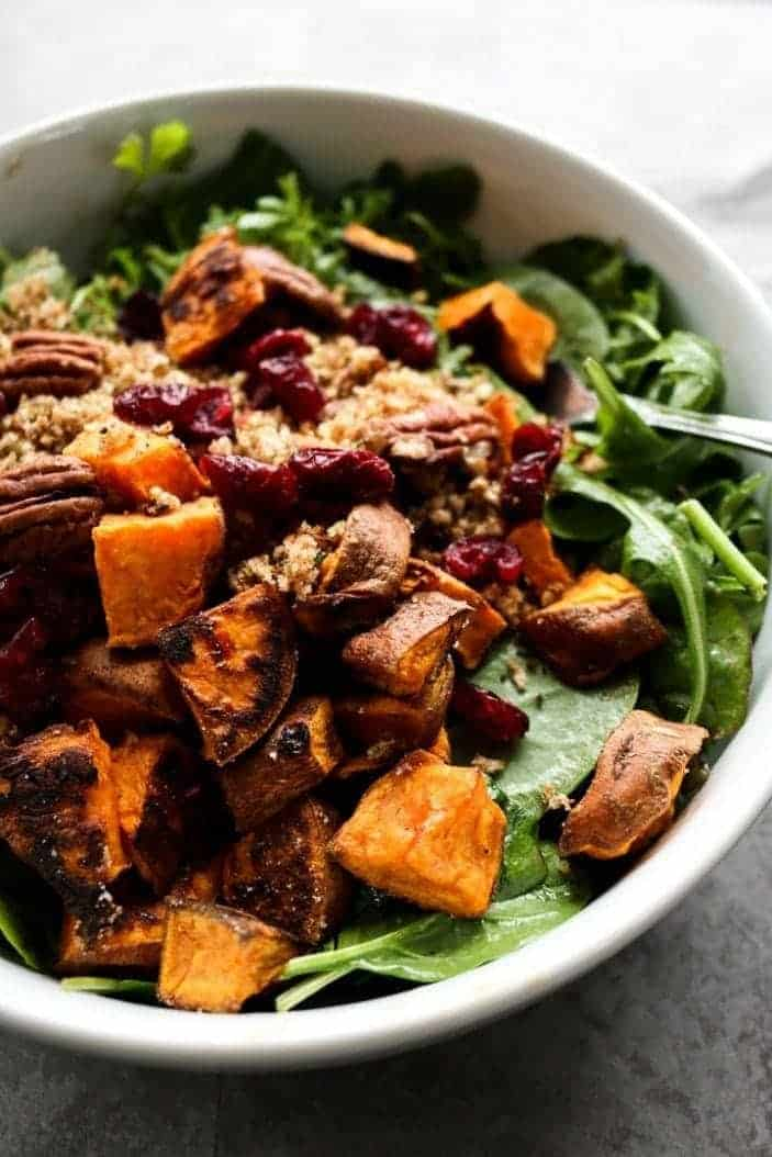 Sweet Potato & Toasted Bread Winter Salad seen from the side
