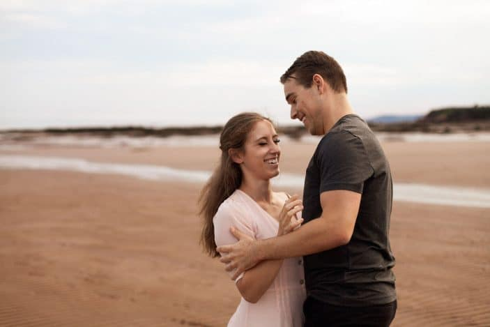 Our Engagement Photos - couple laughing