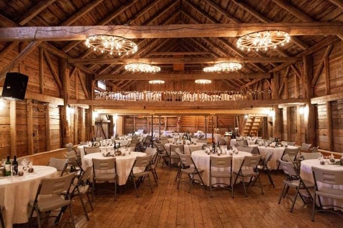 inside the barn on our cozy fall wedding
