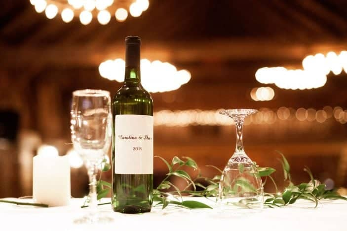 bottle of wine on table - our cozy fall wedding