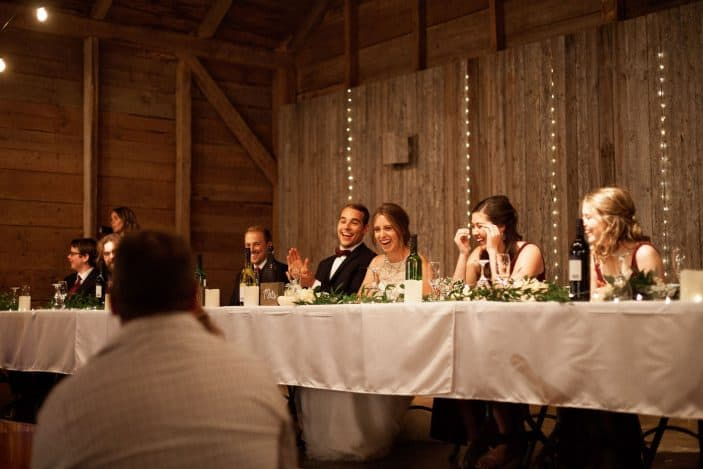 wedding party at head table