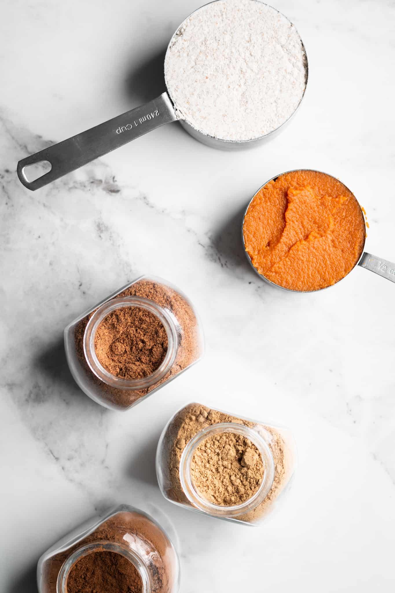 flour, pumpkin puree and spices